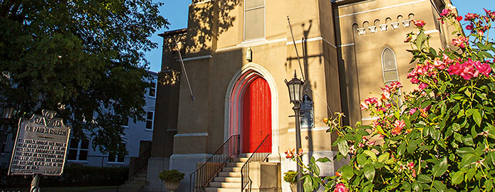 front of church with red door